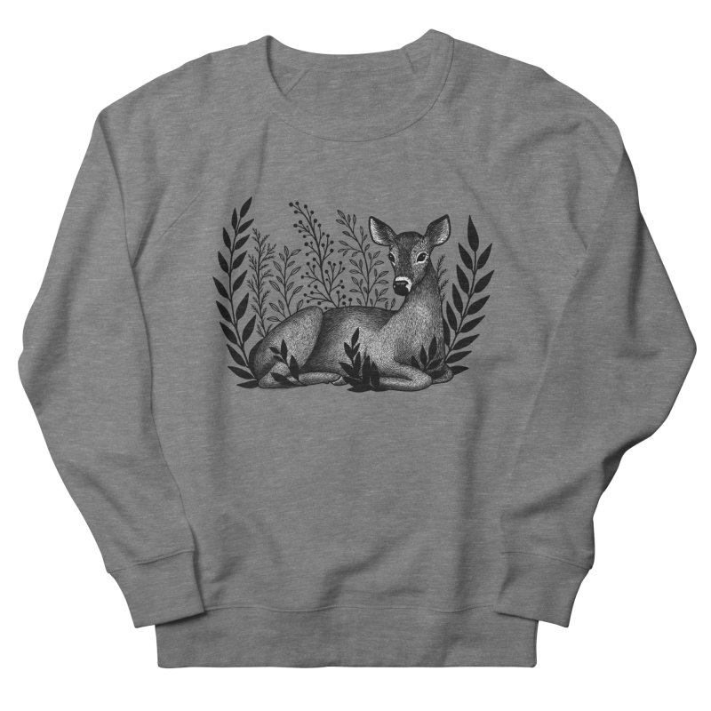 Sleepy Deer Women's French Terry Sweatshirt by Thistle Moon Artist Shop