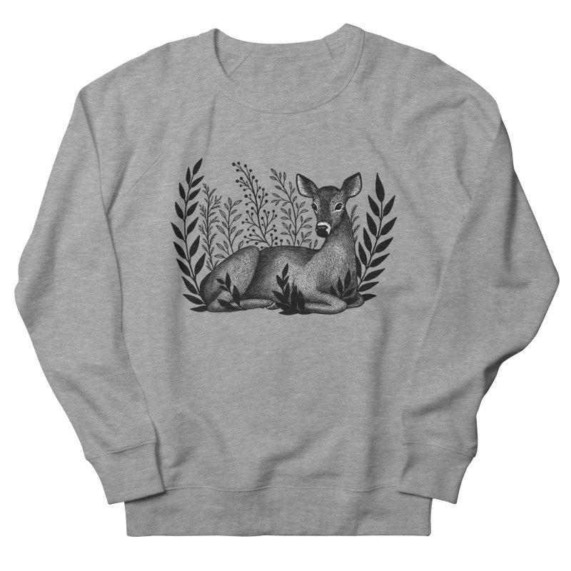 Sleepy Deer Men's French Terry Sweatshirt by Thistle Moon Artist Shop