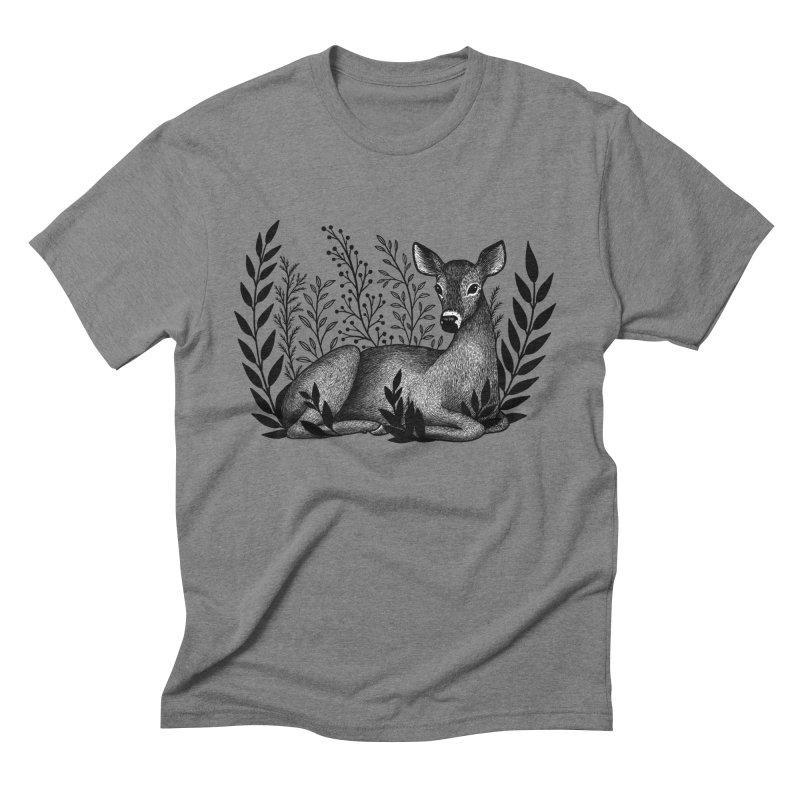 Sleepy Deer Men's Triblend T-Shirt by Thistle Moon Artist Shop