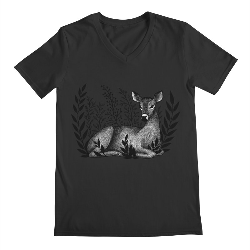 Sleepy Deer Men's Regular V-Neck by Thistle Moon Artist Shop