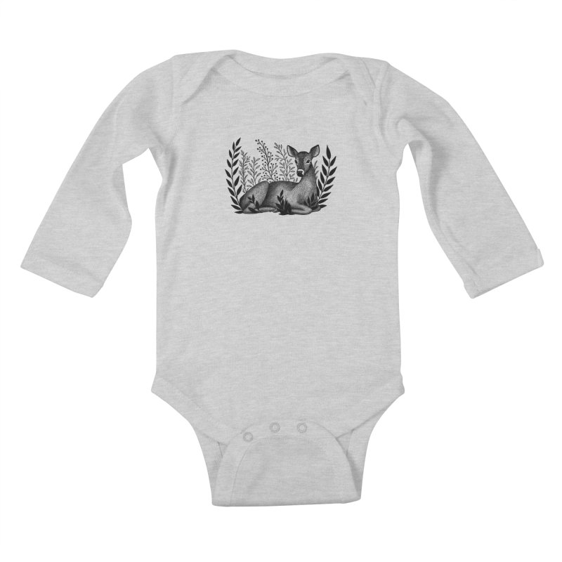 Sleepy Deer Kids Baby Longsleeve Bodysuit by Thistle Moon Artist Shop