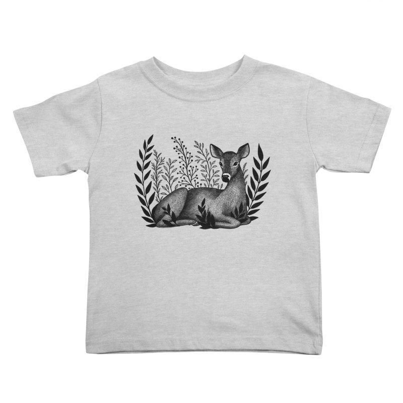 Sleepy Deer Kids Toddler T-Shirt by Thistle Moon Artist Shop