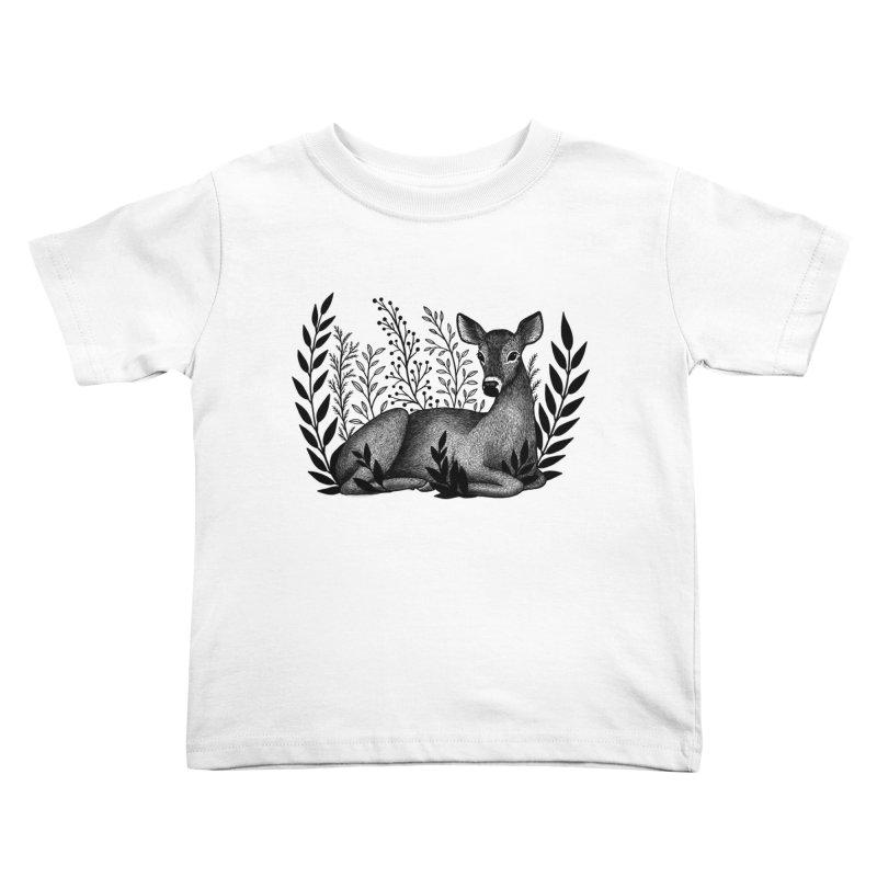 Sleepy Deer Kids Toddler T-Shirt by Thistle Moon Artist Shop