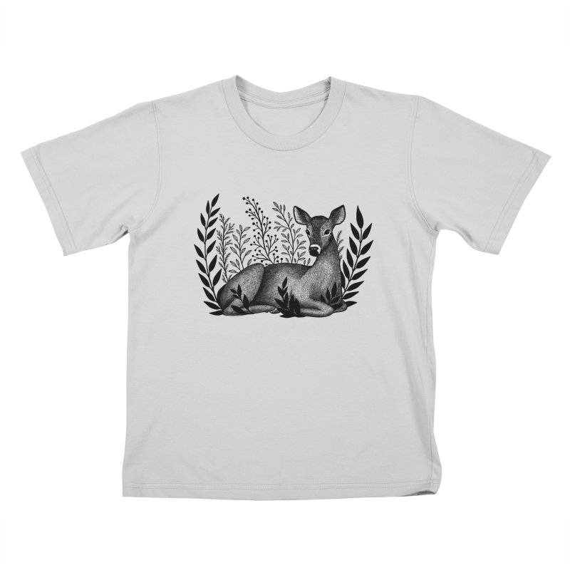 Sleepy Deer Kids T-Shirt by Thistle Moon Artist Shop