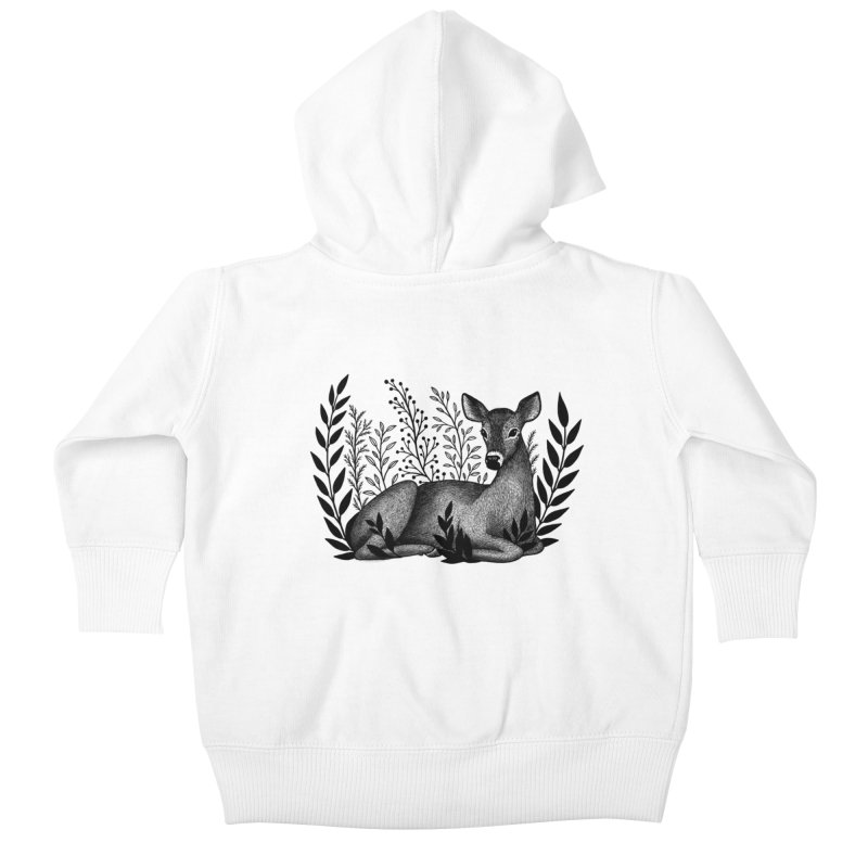 Sleepy Deer Kids Baby Zip-Up Hoody by Thistle Moon Artist Shop