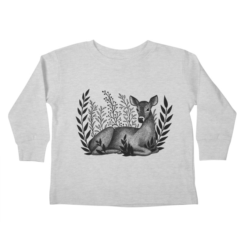 Sleepy Deer Kids Toddler Longsleeve T-Shirt by Thistle Moon Artist Shop