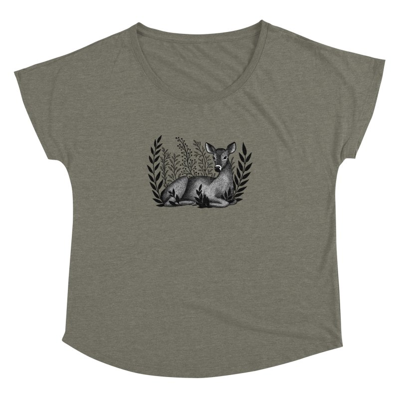 Sleepy Deer Women's Dolman Scoop Neck by Thistle Moon Artist Shop