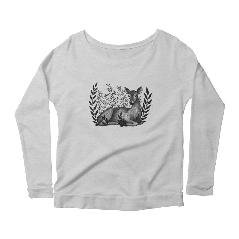 Sleepy Deer Women's Scoop Neck Longsleeve T-Shirt by Thistle Moon Artist Shop