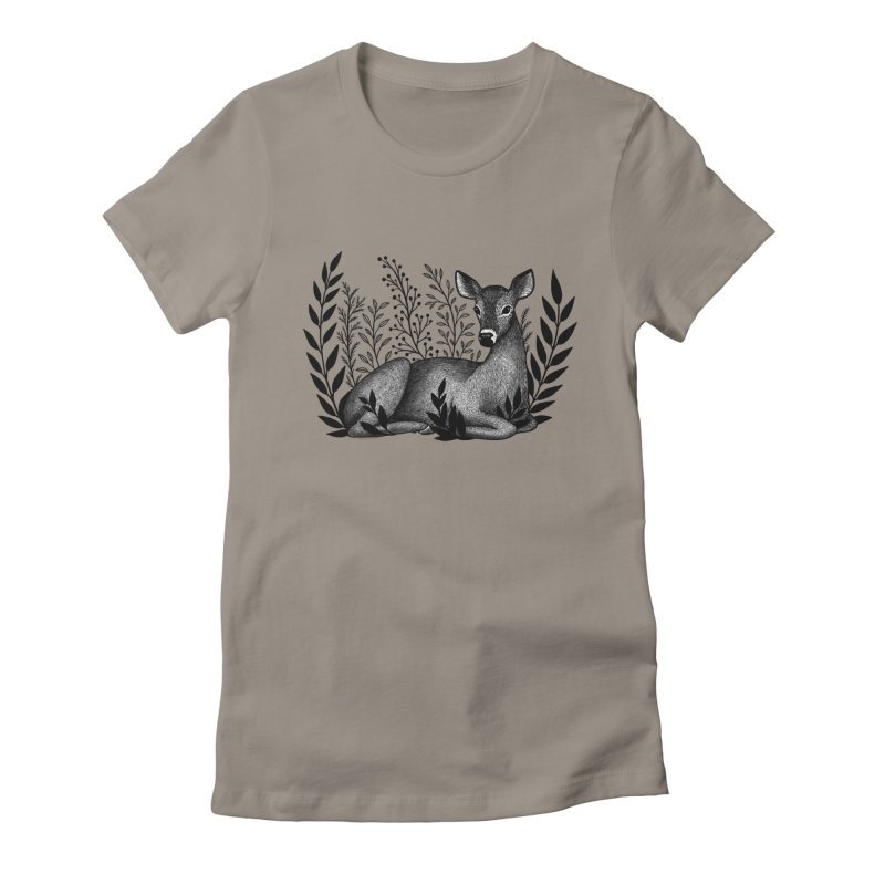 Sleepy Deer Women's Fitted T-Shirt by Thistle Moon Artist Shop