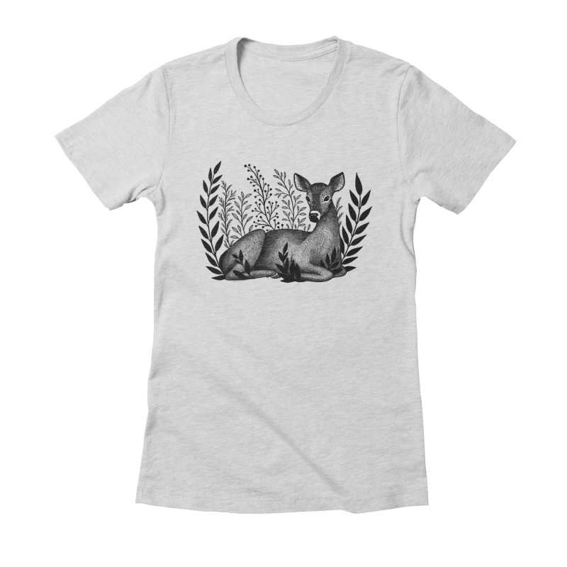 Sleepy Deer Women's Fitted T-Shirt by Thistle Moon Artist Shop