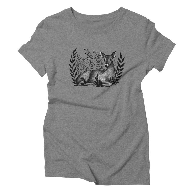 Sleepy Deer Women's Triblend T-Shirt by Thistle Moon Artist Shop