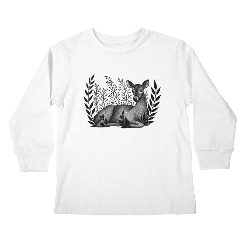Sleepy Deer Kids Longsleeve T-Shirt by Thistle Moon Artist Shop