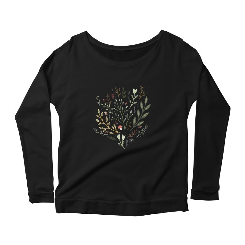 Woodland Walk Women's Scoop Neck Longsleeve T-Shirt by Thistle Moon Artist Shop