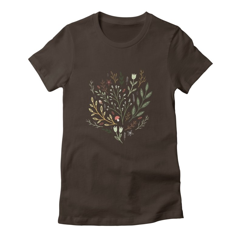 Woodland Walk Women's Fitted T-Shirt by Thistle Moon Artist Shop
