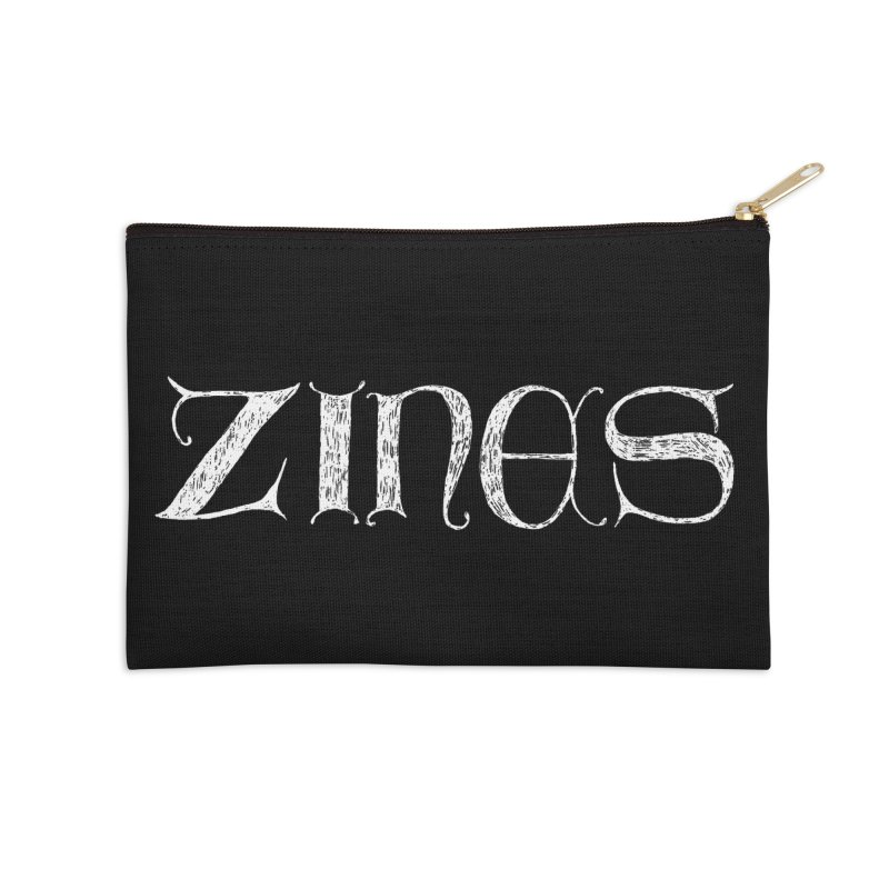 Ye Olde Zines (white ink) Accessories Zip Pouch by SHOP THORAZOS TSHIRTS