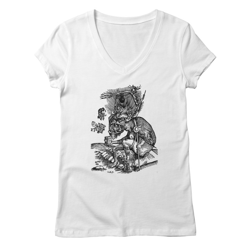 Priests in the Jaws of the Devil Women's Regular V-Neck by SHOP THORAZOS TSHIRTS