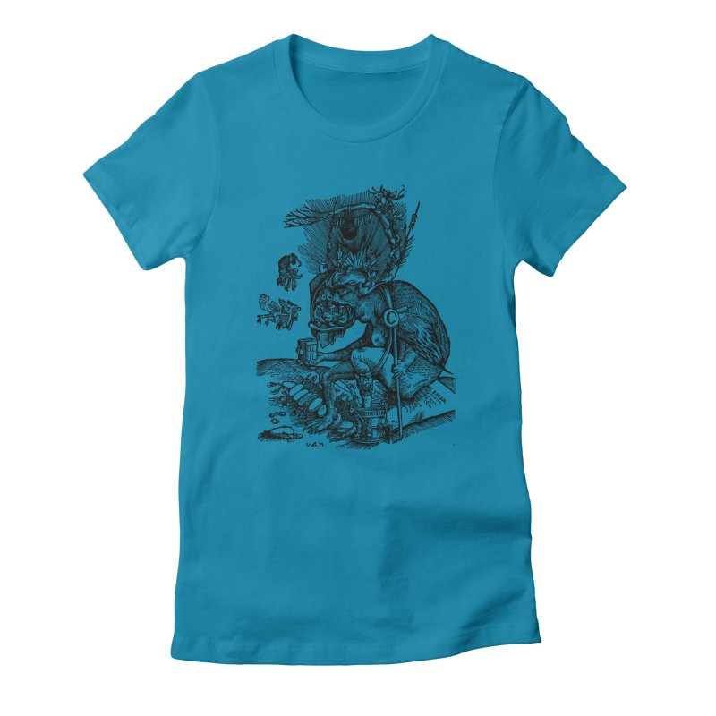 Priests in the Jaws of the Devil Women's Fitted T-Shirt by SHOP THORAZOS TSHIRTS