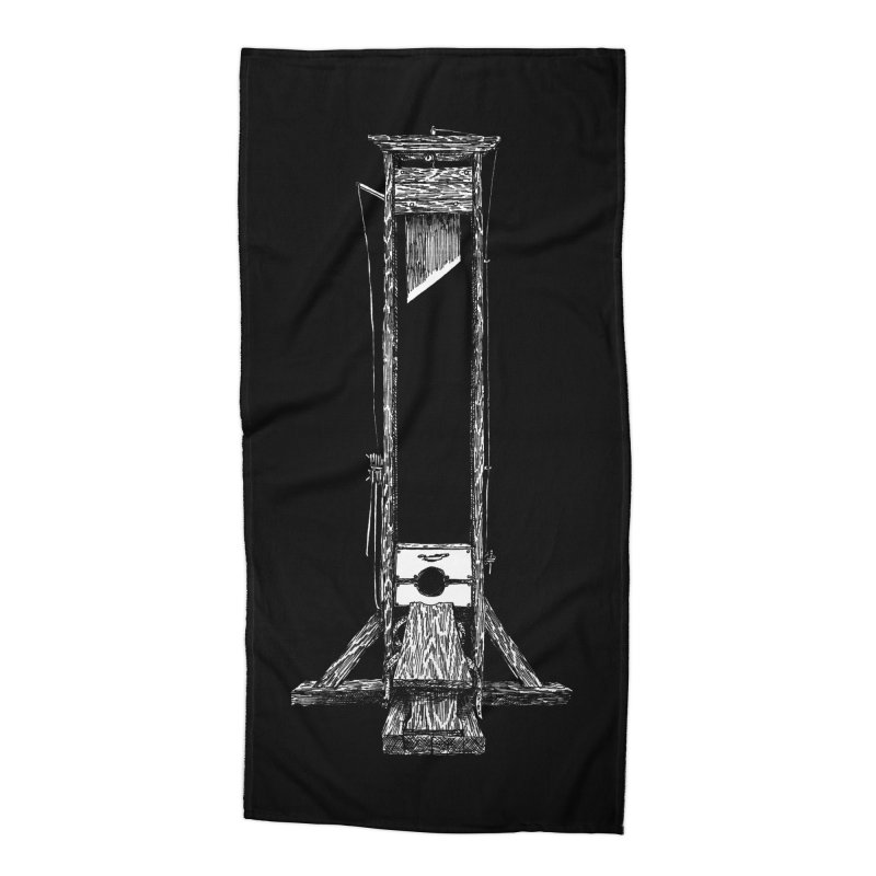 Guillotine (white ink) Accessories Beach Towel by SHOP THORAZOS TSHIRTS