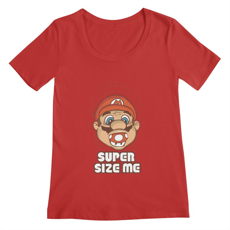 Super Size Me Women's Scoopneck by thosoe's Artist Shop