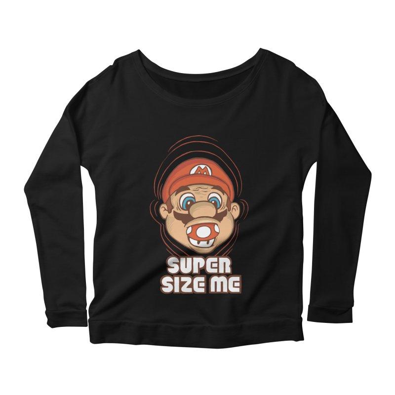 Super Size Me Women's Longsleeve Scoopneck  by thosoe's Artist Shop