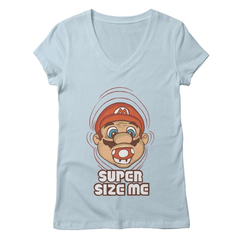 Super Size Me Women's V-Neck by thosoe's Artist Shop