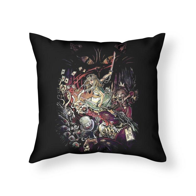 Zombies in Wonderland Home Throw Pillow by Threadless Artist Shop