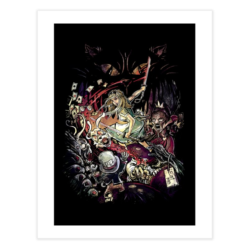 Zombies in Wonderland Home Fine Art Print by Threadless Artist Shop