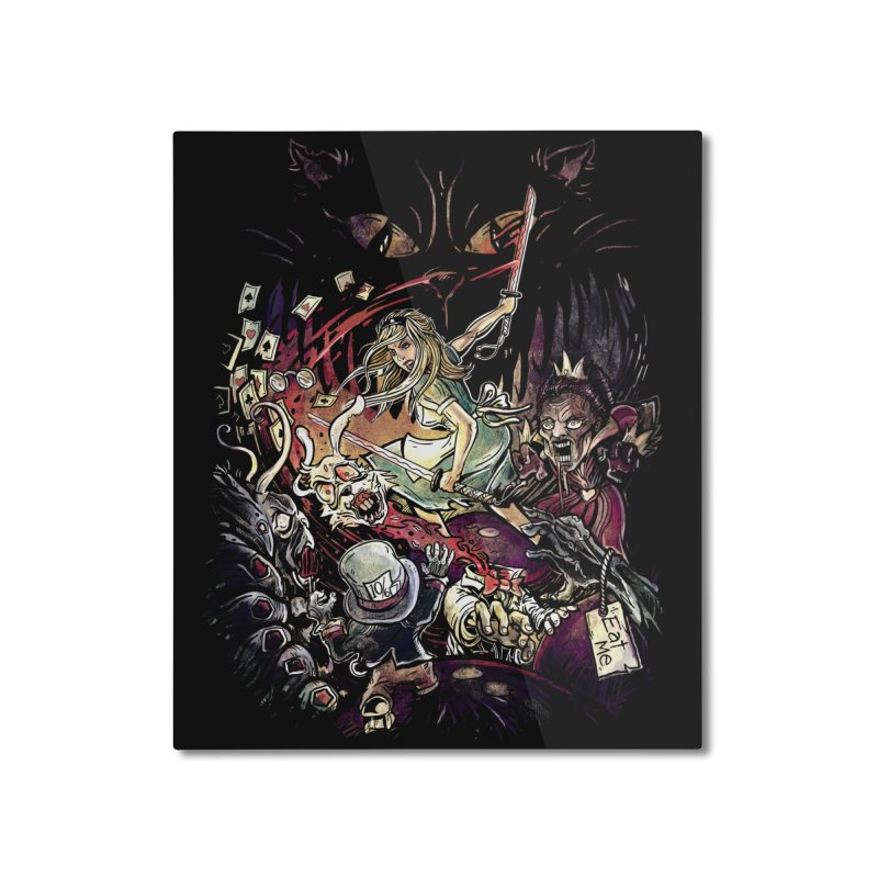 Zombies in Wonderland Home Mounted Aluminum Print by Threadless Artist Shop