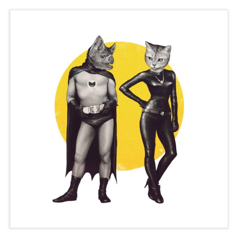 A Bat and a Cat Home Fine Art Print by Threadless Artist Shop