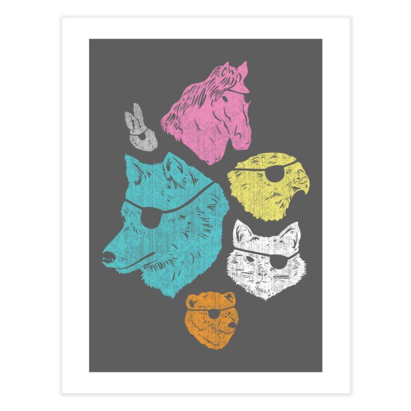 Animals with Eyepatches! Yes! Home Fine Art Print by Threadless Artist Shop
