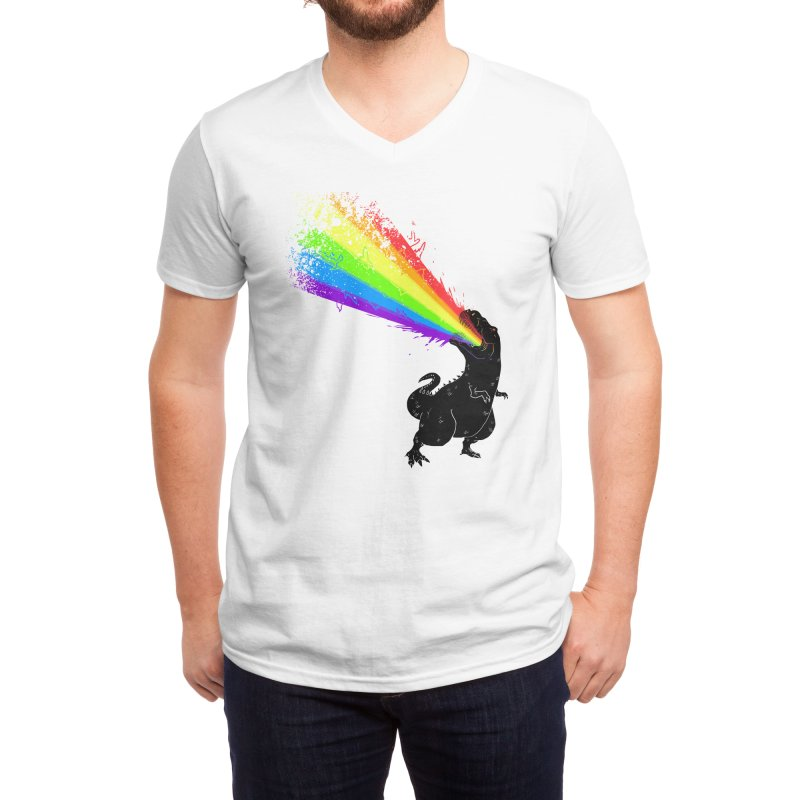 Technicolour Rex Men's V-Neck by Threadless Artist Shop