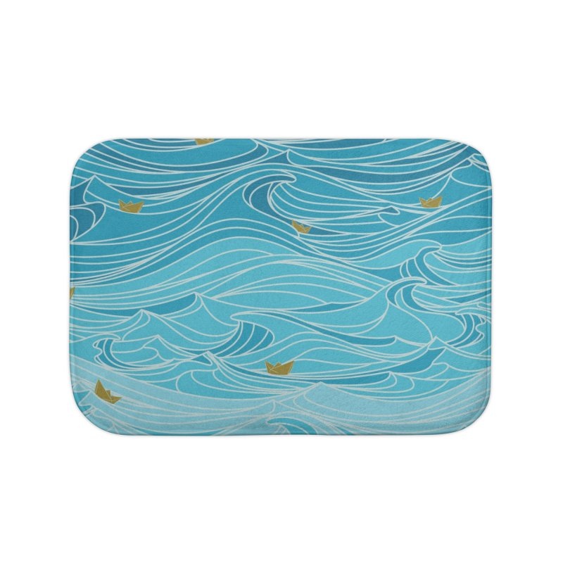 golden paper ships Home Bath Mat by Threadless Artist Shop