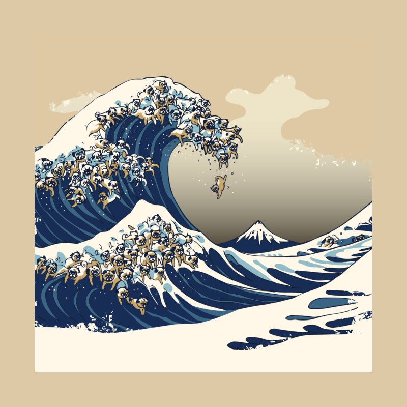 The Great Wave of Pug Home Tapestry by Threadless Artist Shop