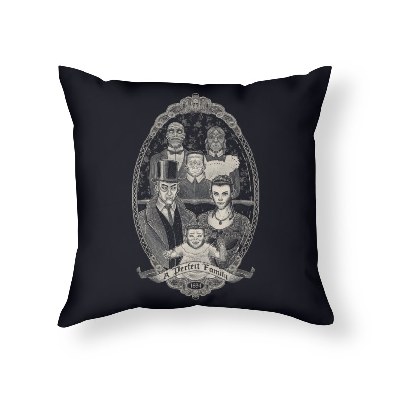 Strange Portrait of a Perfect Family Home Throw Pillow by Threadless Artist Shop