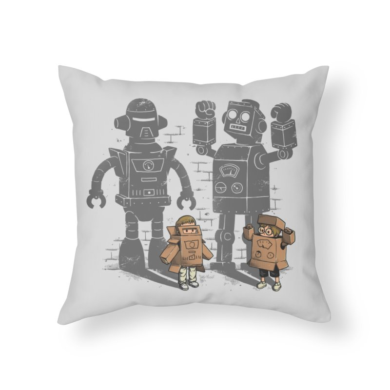 Carton Robots Home Throw Pillow by Threadless Artist Shop