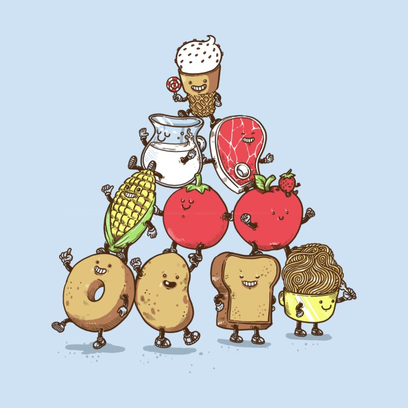 Food Pyramid Men's T-Shirt by Threadless Artist Shop