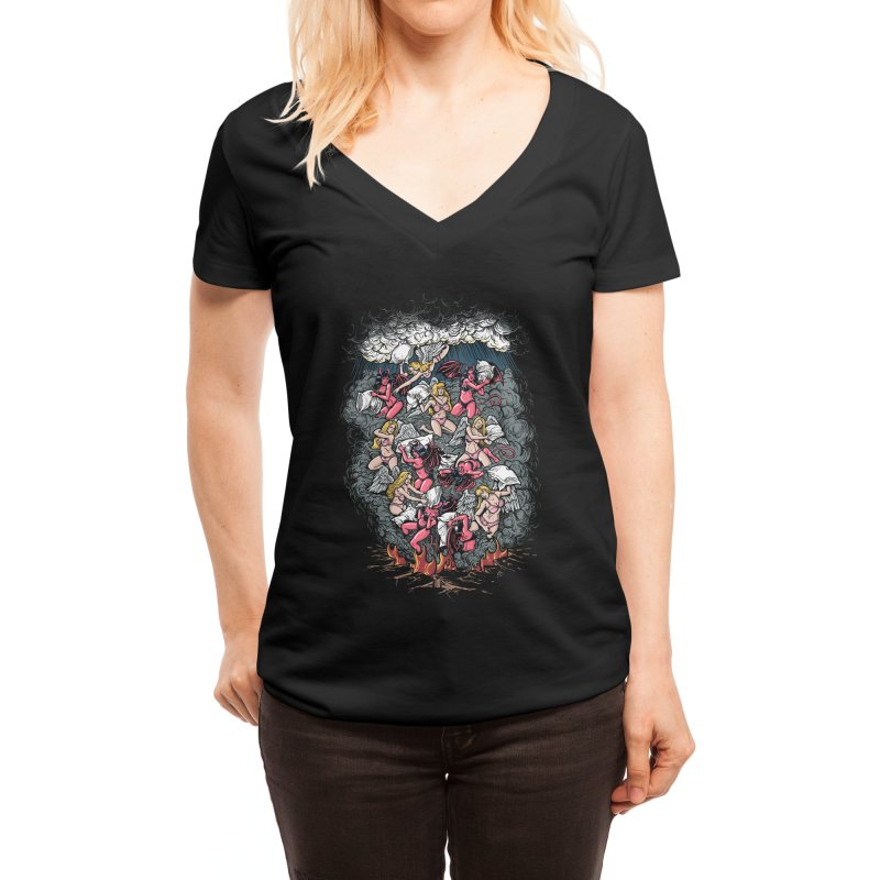 Good vs. Evil Women's V-Neck by Threadless Artist Shop
