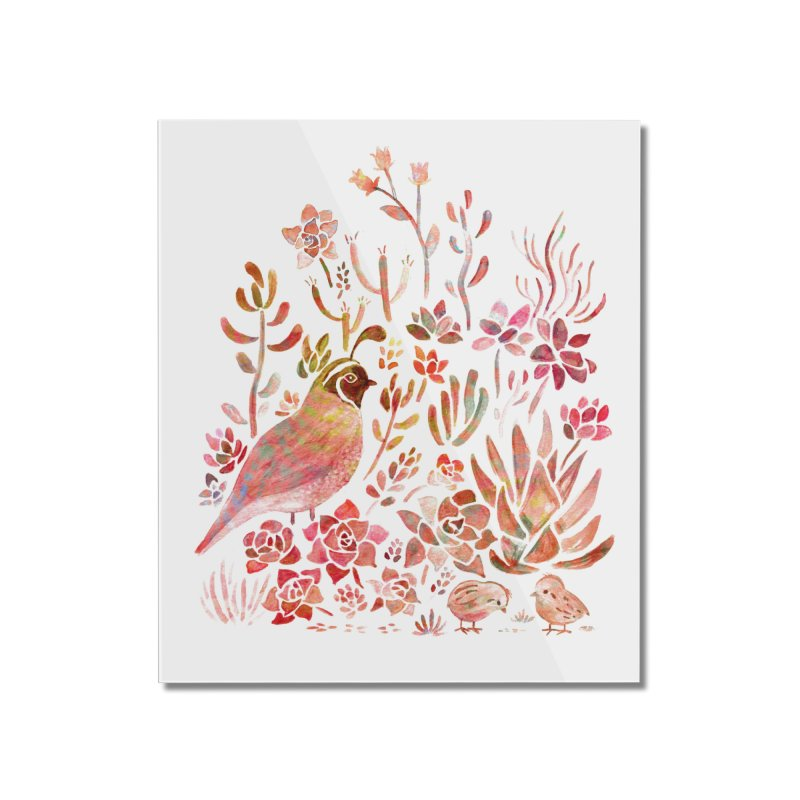 Quail in the Succulent Garden Home Mounted Acrylic Print by Threadless Artist Shop