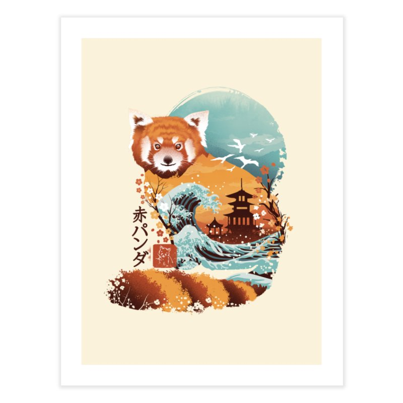 Ukiyo e Red Panda Home Fine Art Print by Threadless Artist Shop