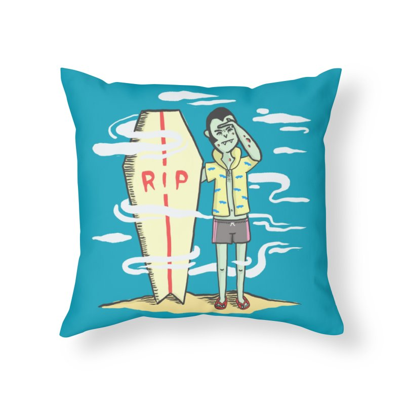 Surf Dracula Home Throw Pillow by Threadless Artist Shop