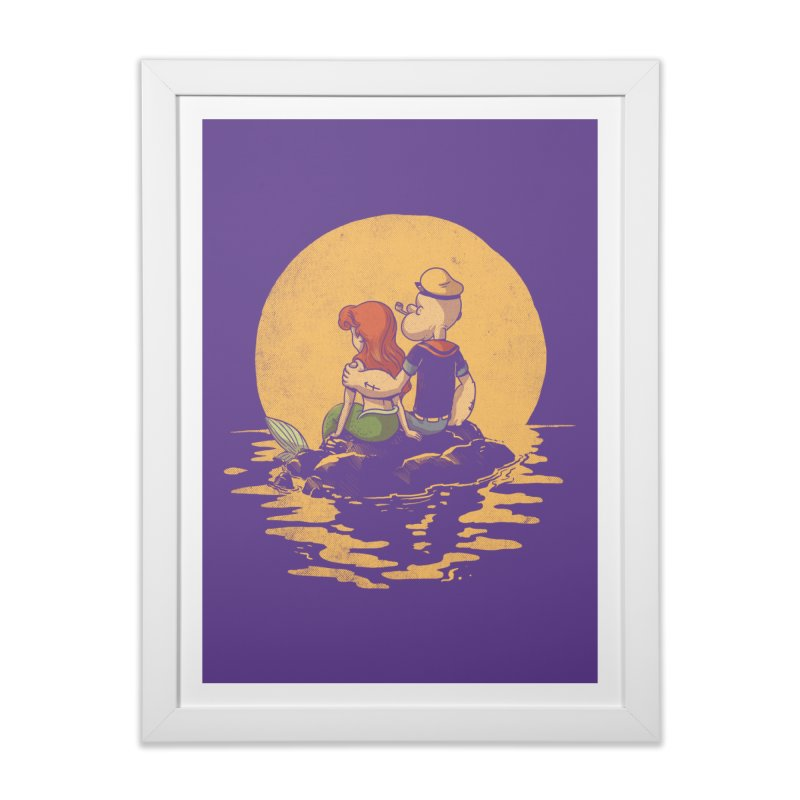The Mermaid and the Sailor Home Framed Fine Art Print by Threadless Artist Shop