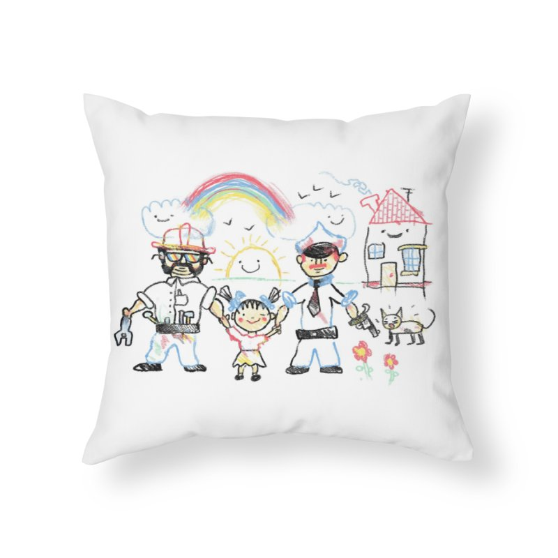 Two Dads Home Throw Pillow by Threadless Artist Shop