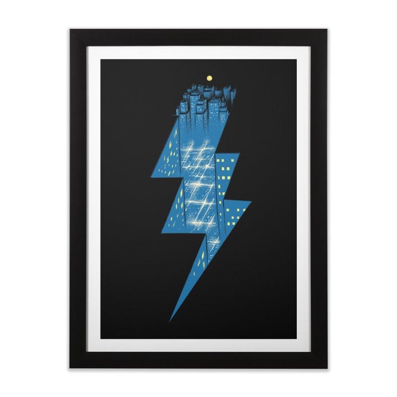 Thunder City Home Framed Fine Art Print by Threadless Artist Shop