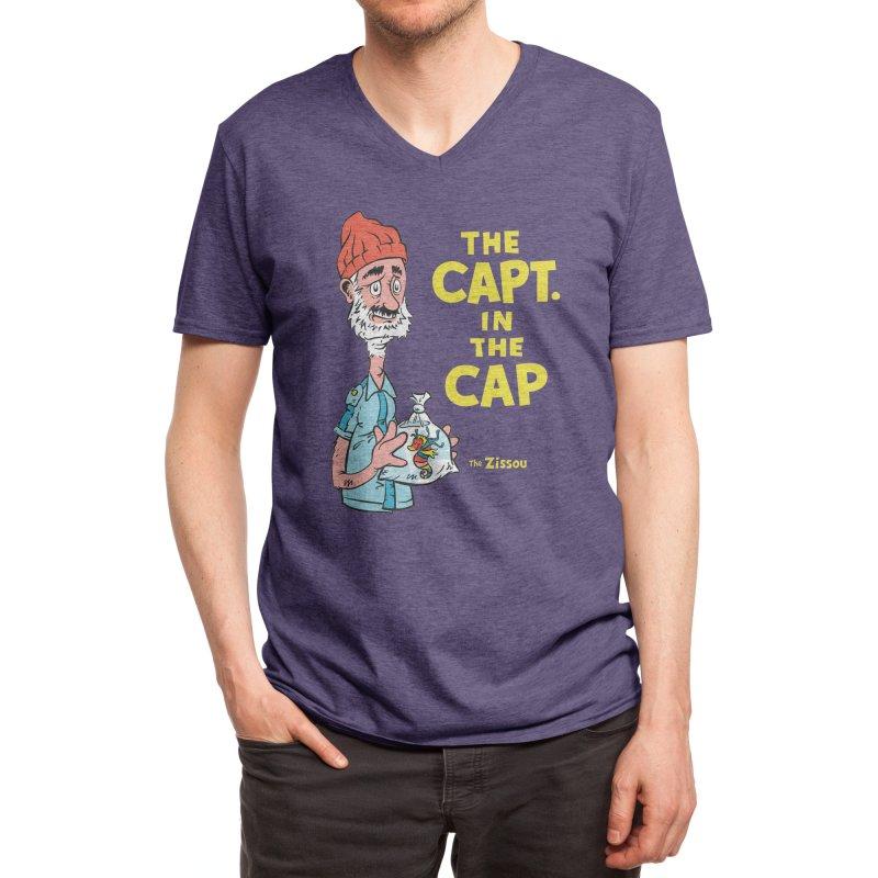 The Capt. in the Cap Men's V-Neck by Threadless Artist Shop