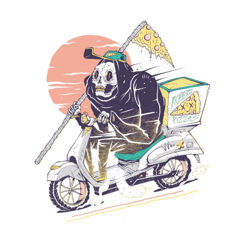 Reaper's Pizza Home Fine Art Print by Threadless Artist Shop