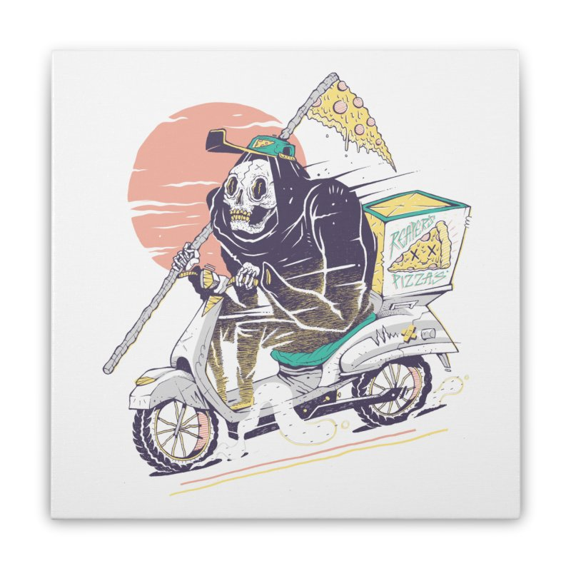 Reaper's Pizza Home Stretched Canvas by Threadless Artist Shop