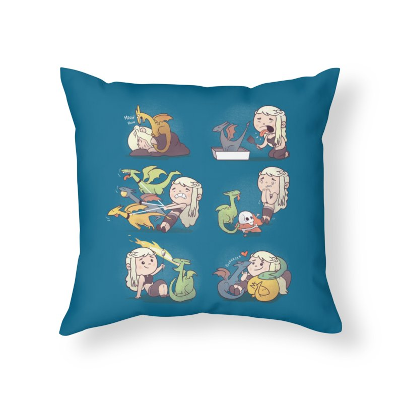 Crazy Dragon Lady Home Throw Pillow by Threadless Artist Shop