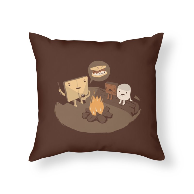 Tell Us S'more Home Throw Pillow by Threadless Artist Shop