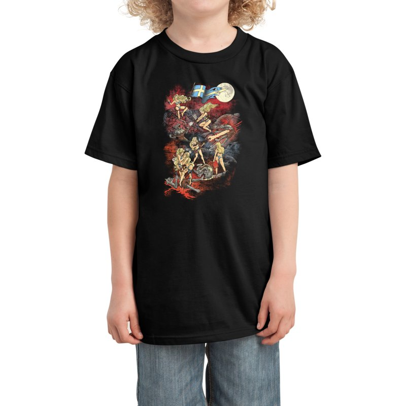 SWEDISH BIKINI WEREWOLF DESTRUCTION UNIT Kids T-Shirt by Threadless Artist Shop
