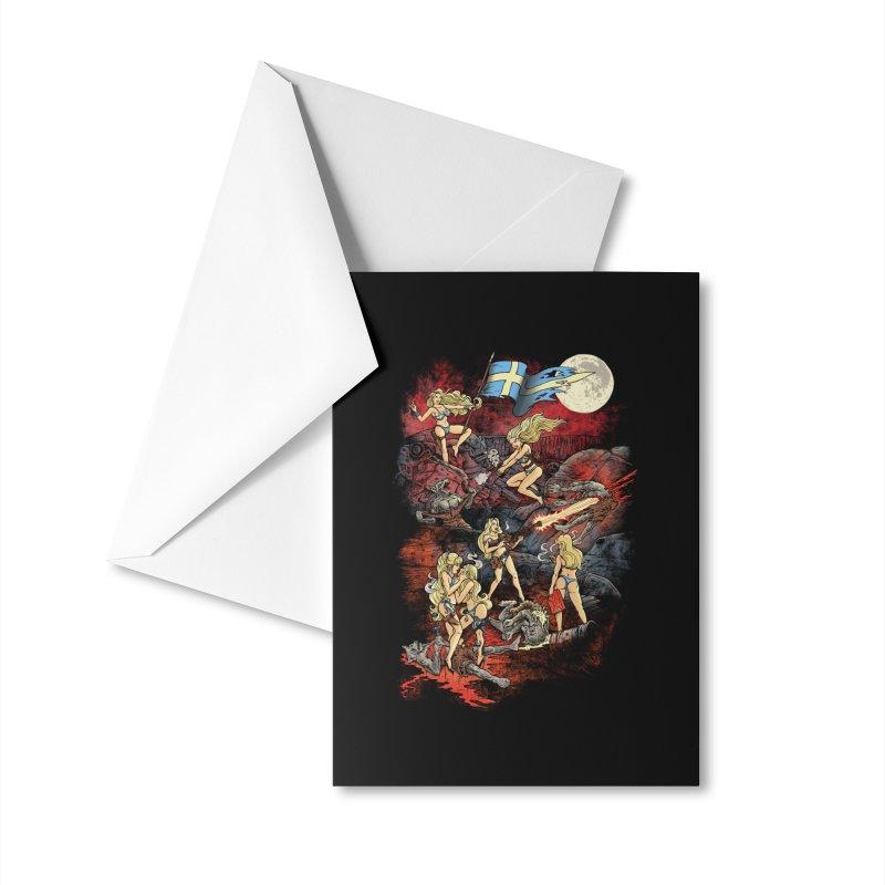 SWEDISH BIKINI WEREWOLF DESTRUCTION UNIT Accessories Greeting Card by Threadless Artist Shop